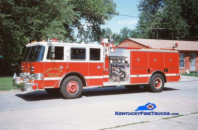 RETIRED<br /> Camp Taylor Engine 5039<br /> 1989 Pierce Arrow/1978 Grumman-Oren 1250/750<br /> Kent Parrish collection