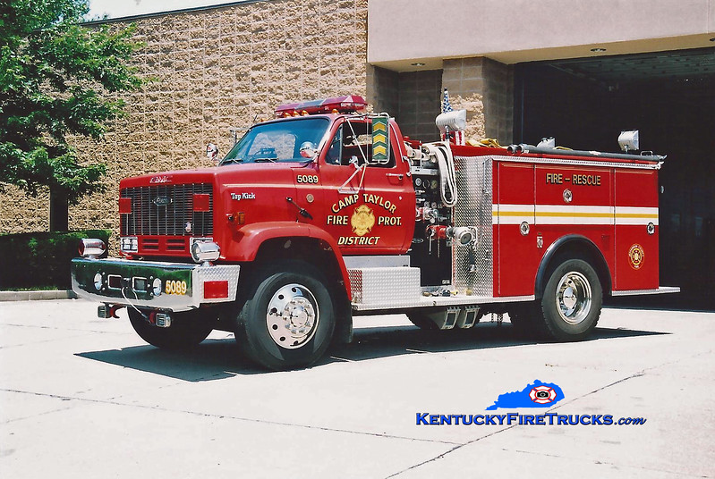 <center> RETIRED <br> Camp Taylor Rescue 5089 <br> x-Jefferson R-7, MO <br> 1989 GMC Topkick/Pierce 400/500/120 <br> Kent Parrish photo </center>