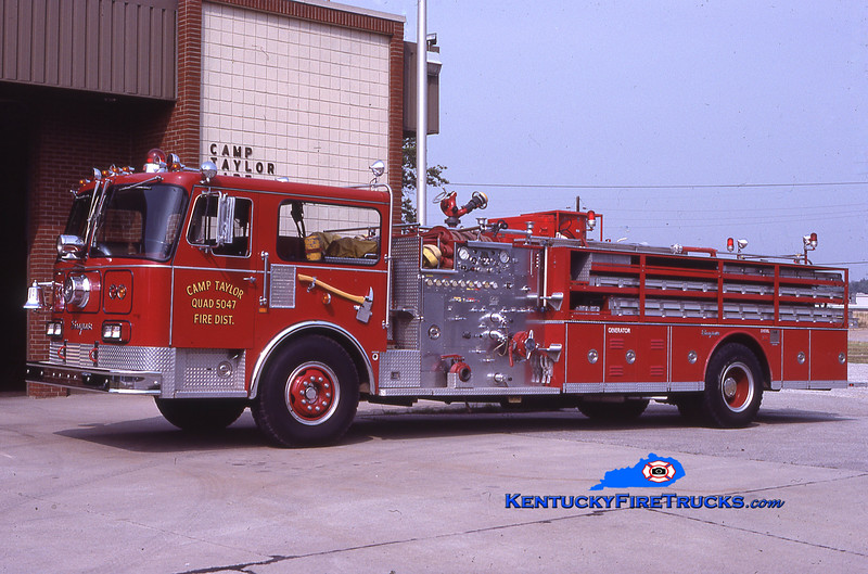 RETIRED<br /> Camp Taylor Quad 5047<br /> x-Chattanooga, TN<br /> 1982 Seagrave HB 1250/500<br /> Kent Parrish collection