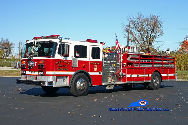 <center> RETIRED <br> Camp Taylor  Quad 5047 <br> x-Chattanooga, TN <br> 1982 Seagrave HB/1999 RPI 1250/500 <br> Kent Parrish photo </center>
