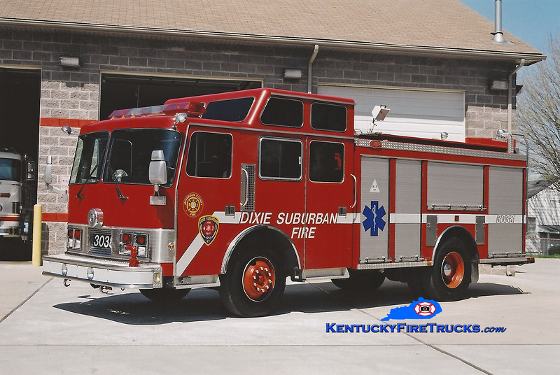 <center> RETIRED <br> Dixie Suburban  Engine 3038 <br> x-St. Matthews, KY <br> 1989 Pemfab Monogram/Gator 1250/500 <br> Kent Parrish photo <center>