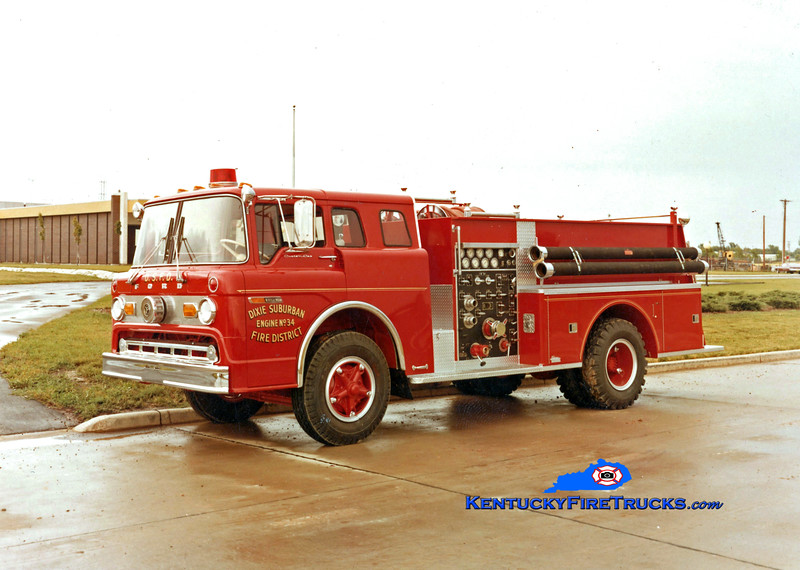 RETIRED<br /> Dixie Suburban Engine 3024<br /> 1971 Ford C-800/Pierce 1000/500<br /> Kent Parrish collection