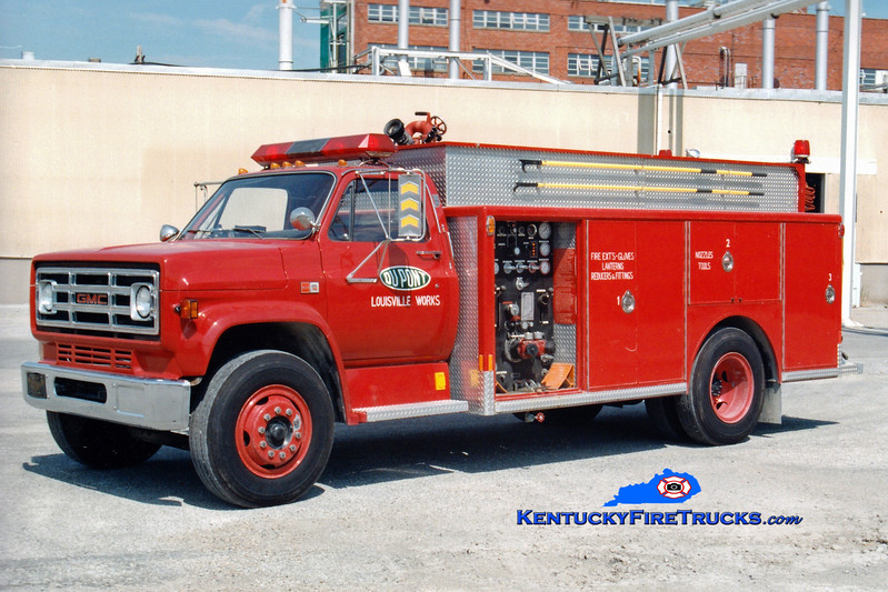 <center> RETIRED  <br> Dupont Louisville Works  Engine 1 <br> 1985 GMC/Indiana 1000/500/500  <br> Greg Stapleton photo <br> </center>