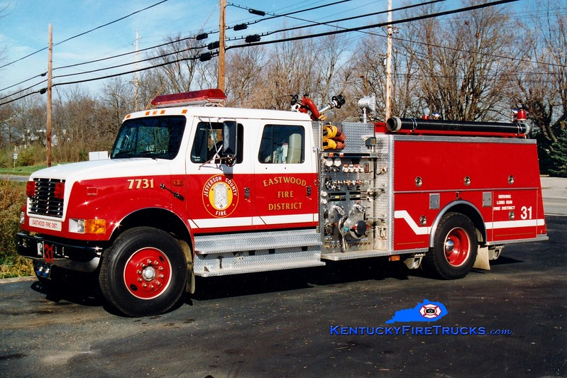 <center> RETIRED <br> Eastwood Engine 7731 <br> 1992 International 4900/KME 1250/750/100  <br> Kent Parrish photo </center>