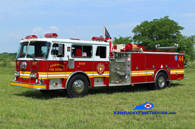 PRIVATELY OWNED <br /> Edgewood Quad 4444<br /> x-FDNY 100' aerial<br /> 1982/1997 Seagrave HB 1500/500<br /> Kent Parrish photo