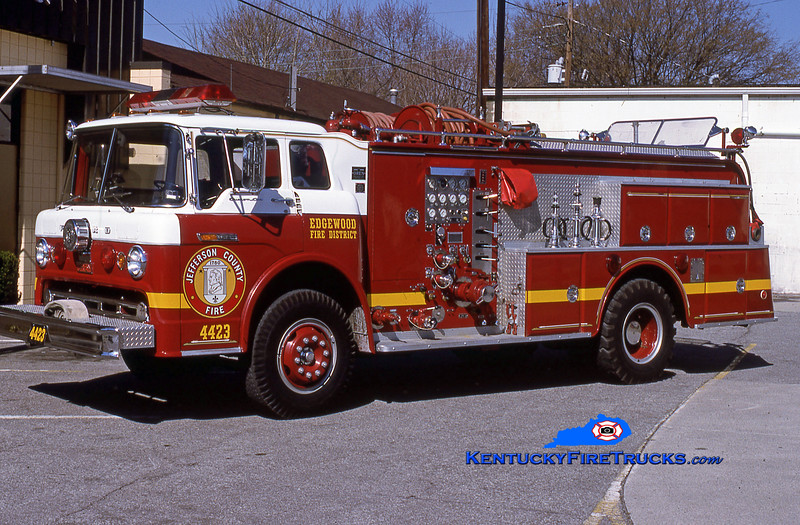RETIRED<br /> Edgewood Engine 4423<br /> 1971 Ford C-900/Oren 1000/1000<br /> Kent Parrish collection