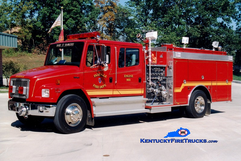 <center> RETIRED <br> Fairdale  Engine 9031 <br> 1995 Freightliner FL70/Smeal 1250/900  <br> Greg Stapleton photo  </center>
