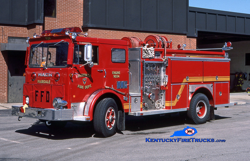 RETIRED<br /> Fairdale Engine 9034<br /> 1978 Mack MB/1986 E-One 1250/1000<br /> Kent Parrish collection