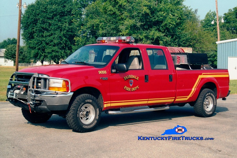 <center> RETIRED <br> Fairdale  Forestry 9098 <br> 1998 Ford F-250 4x4/FFD 400/200 <br> Greg Stapleton photo  </center>