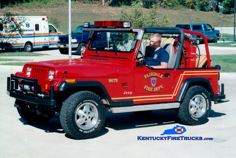 <center> RETIRED <br> Fairdale  Forestry 9079 <br> 1994 Jeep Wrangler 4x4/FFD 95/75  <br> Greg Stapleton photo  </center>