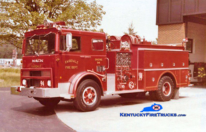 RETIRED<br /> Fairdale Engine 94<br /> 1978 Mack MB/Howe 1000/500<br /> Kent Parrish collection