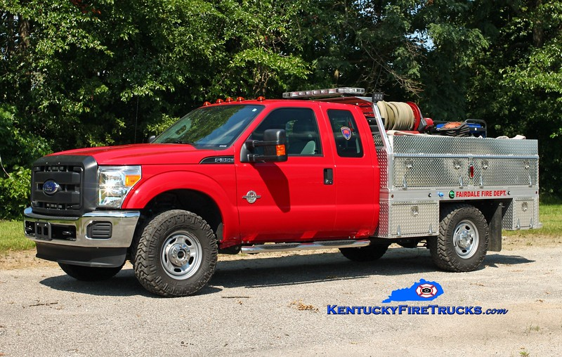 <center> Fairdale  Forestry 9098 <br> 2015 Ford F-250 4x4/Palfleet/1998 Pro-Poly 400/200 <br> Kent Parrish photo  </center>