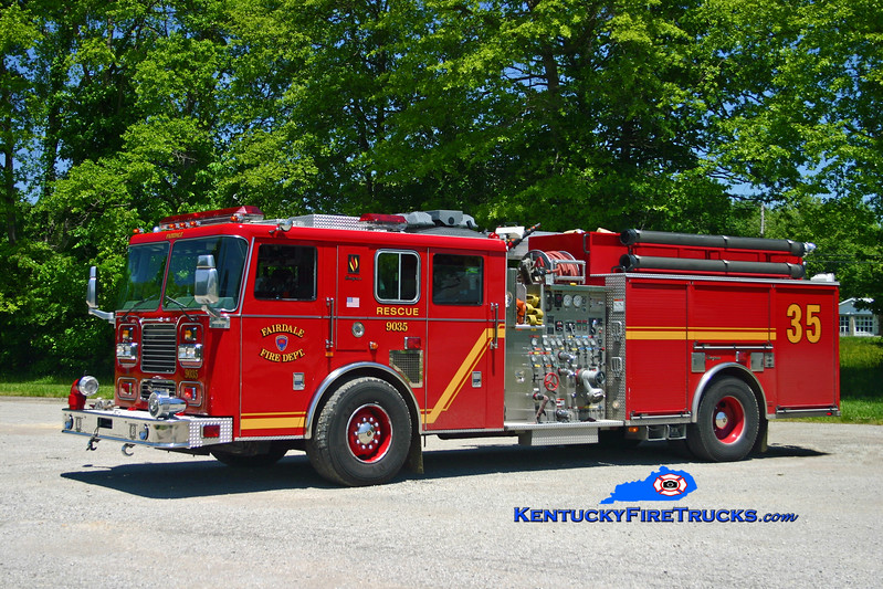 <center> Fairdale  Rescue-Engine 9035 <br> 2003 Seagrave Marauder 1500/700/30/20 <br> Kent Parrish photo </center>