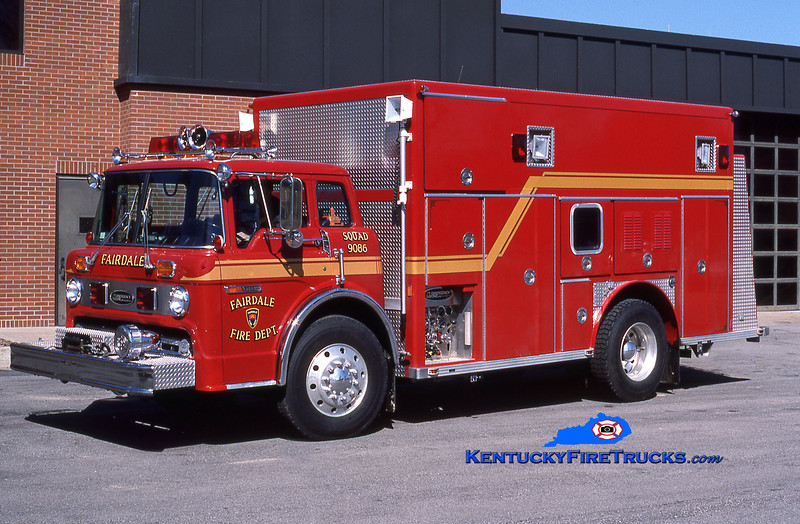 RETIRED<br /> Fairdale Squad 9086<br /> 1986 Ford C-8000/E-One 250/300<br /> Kent Parrish collection