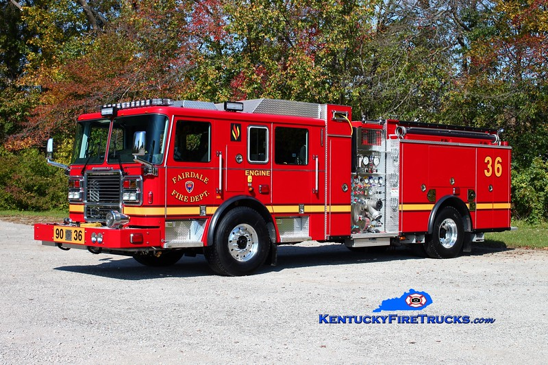 <center> Fairdale  Engine 9036 <br> 2014 Seagrave Marauder ii 1500/750/50 <br> Kent Parrish photo </center>
