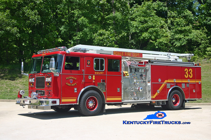 <center> Fairdale  Squrt 9033 <br> 2001 Seagrave Marauder 1500/500/54' <br> Kent Parrish photo  </center>