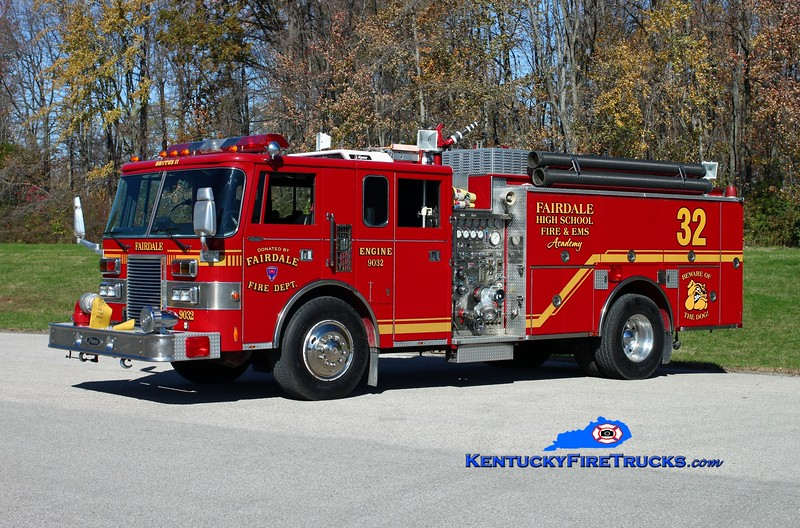 "<center> Fairdale High School Fire & EMS Academy  ""Brutus II""  <br> x-Fairdale Fire District, KY <br> 1990 Pierce Lance 1500/1000 <br> Kent Parrish photo </center>"