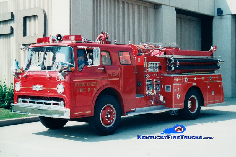 <center> RETIRED <br> Fern Creek  Engine 7128 <br> 1971 Ford C-900/Pirsch 1000/500 <br> Greg Stapleton photo </center>