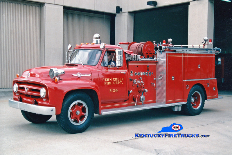 <center> PRIVATELY MAINTAINED <br> Fern Creek  Antique Engine 7124 <br> 1953 Ford F-750/Pirsch 750/500 <br> Greg Stapleton photo </center>