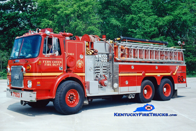 <center> Fern Creek  Tanker 7163 <br> 1983 White/1985 Pirsch 1250/2000 <br> Greg Stapleton photo </center>