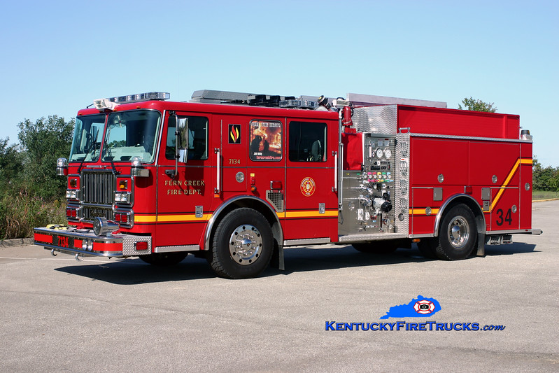 <center> Fern Creek  Engine 7134 <br> 2009 Seagrave Marauder II 1500/750 <br> Kent Parrish photo </center>