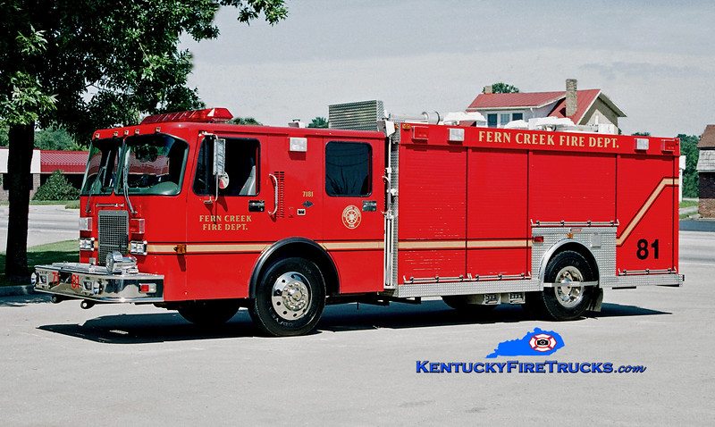 <center> Fern Creek  Rescue 7181 <br> 1997 Spartan Advantage/Summit <br> Kent Parrish photo </center>