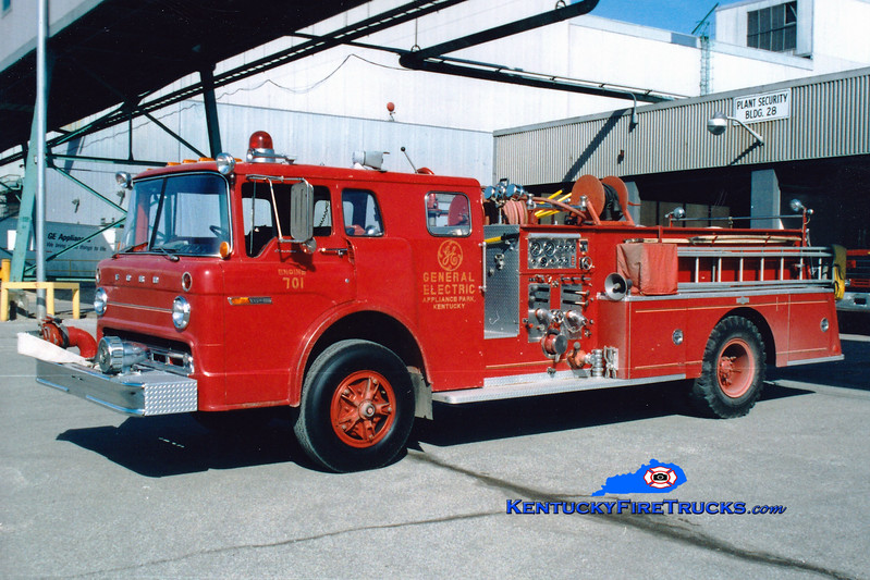<center> RETIRED  <br> General Electric Appliance Park  Engine 701 <br> 1978 Ford C-8000/Pirsch 1000/300 <br> Greg Stapleton photo <br> </center>