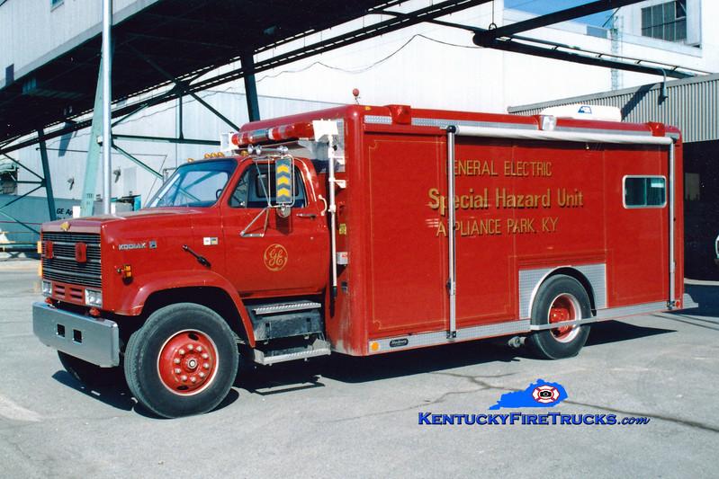 <center> RETIRED  <br> General Electric Appliance Park  Hazmat 703 <br> 1988 Chevy Kodiak/Hackney  <br> Greg Stapleton photo <br> </center>