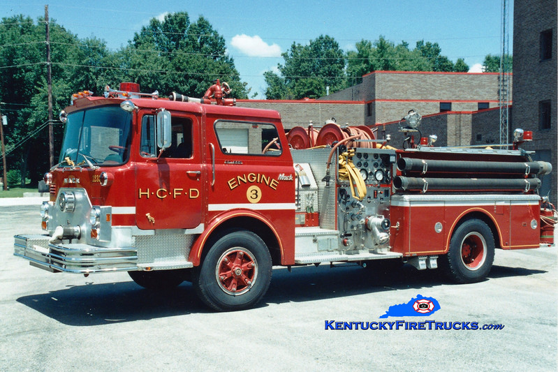 <center> RETIRED <br> Harrods Creek  Engine 1233 <br> 1976 Mack CF 1250/500 <br> Greg Stapleton photo </center>