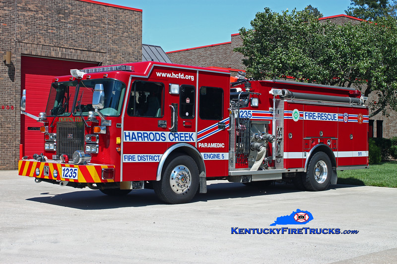 <center> RETIRED <br> Harrods Creek Engine 1235 <br> *Refurbed <br> 1996 Spartan Gladiator/3D 1500/600 <br> Kent Parrish photo </center>