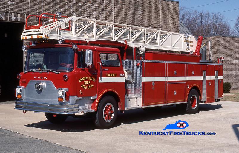 RETIRED<br /> Harrods Creek Ladder 1255<br /> 1976 Mack CF/Hamerly/Thibault 100'<br /> Kent Parrish collection