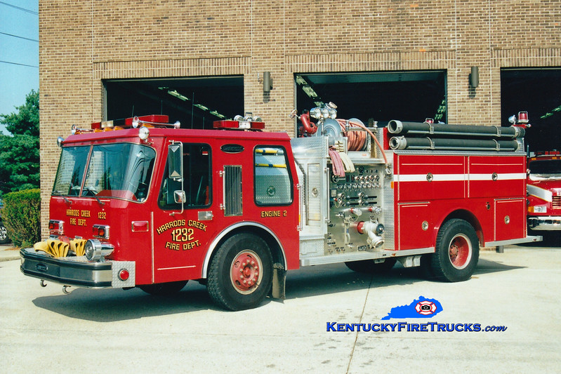<center> RETIRED <br> Harrods Creek  Engine 1232 <br> 1986 E-One Hurricane 1250/750 <br> Greg Stapleton photo </center>