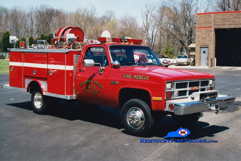 RETIRED<br /> Harrods Creek  Brush 1279<br /> 1984 GMC/E-One 250/250<br /> Greg Stapleton photo