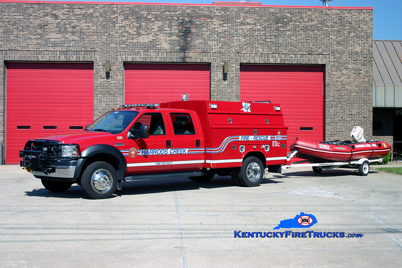<center> RETIRED <BR> Harrods Creek  Rescue 1281 <br> 2005 Ford F-450 4x4/Reading-Manning/Zodiak <br> Kent Parrish photo </center>
