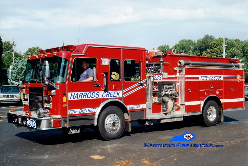 <center> RETIRED <br> Harrods Creek Engine 1233 <br> *Original <br> 1995 Spartan Gladiator/3D 1500/600 <br> Greg Stapleton photo </center>