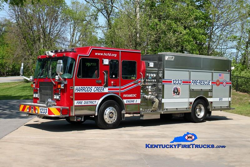 <center> Harrods Creek Engine 1233 <br> 1995 Spartan Gladiator/2012 Custom Fire 1500/600 <br> Kent Parrish photo </center>