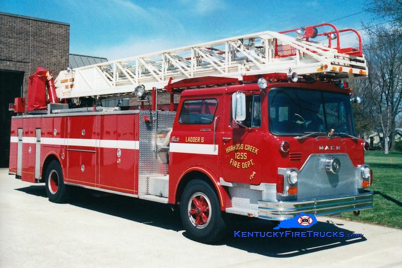 <center> RETIRED <br> Harrods Creek  Ladder 1255 <br> 1976 Mack CF/Hamerly/Thibault 100'  <br> Greg Stapleton photo </center>