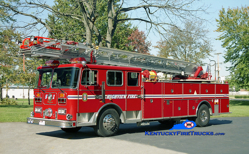 <center> RETIRED <br> Highview Truck 1151 <br> 1991 Seagrave JR 100' <br> Kent Parrish photo </center>