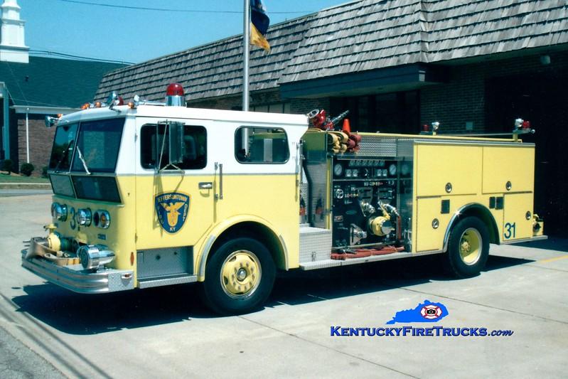 <center> RETIRED <br> Jeffersontown  Engine 3331  <br> 1970 Ward LaFrance/1987 pierce 1500/500  <br> Greg Stapleton photo </center>