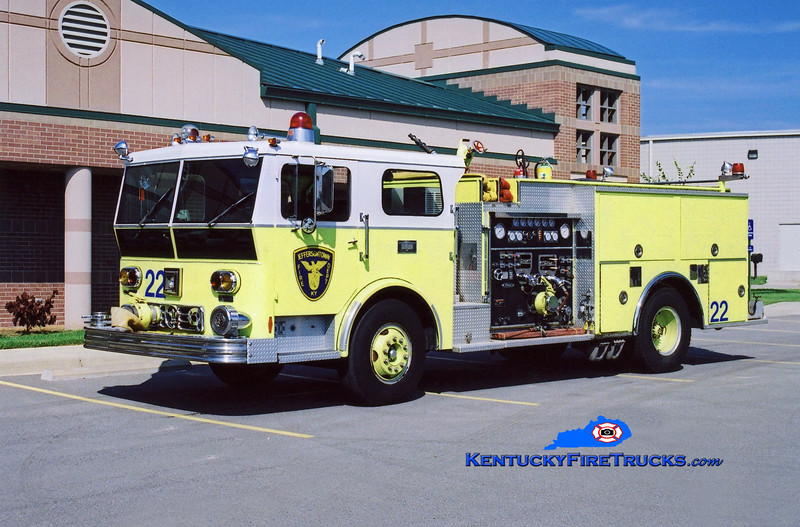 <center> RETIRED <br> Jeffersontown  Engine 3322 <br> 1973 Ward LaFrance/1987 Pierce 1000/500 <br> Kent Parrish photo </center>