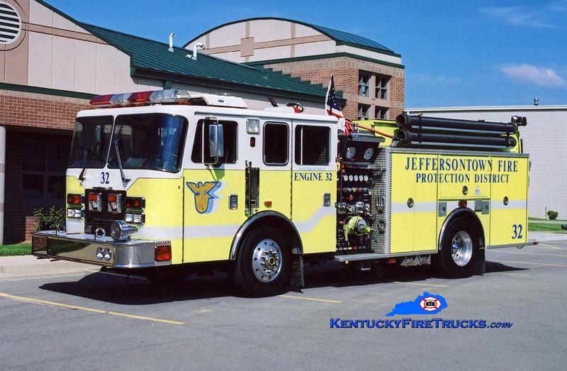 RETIRED<br /> Jeffersontown Engine 3332<br /> 1997 KME Renegade 1500/750<br /> Kent Parrish photo