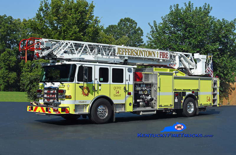 REASSIGNED <br /> Jeffersontown  Quint 3354<br /> x-McMahan, KY<br /> 2017 Pierce Enforcer 1500/500/107' Ascendant <br /> Kent Parrish photo