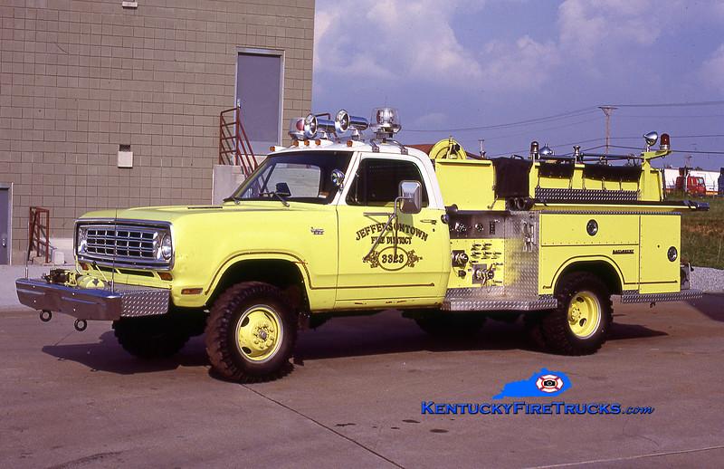 RETIRED<br /> Jeffersontown Engine 3323<br /> 1975 Dodge W300 4x4/Saulsbury 400/250<br /> Kent Parrish collection