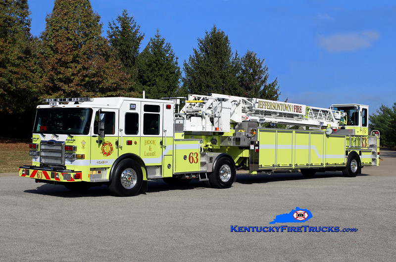 Jeffersontown  Truck 3363<br /> x-Truck 3351 and 3361 <br /> 2016 Pierce Enforcer 100' <br /> Kent Parrish photo