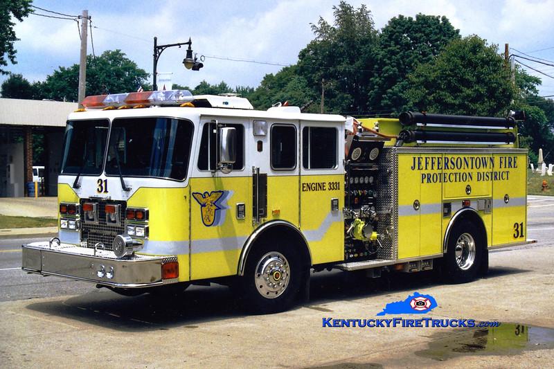 REASSIGNED<br /> Jeffersontown Engine 3331<br /> 1997 KME Renegade 1500/750<br /> Greg Stapleton photo