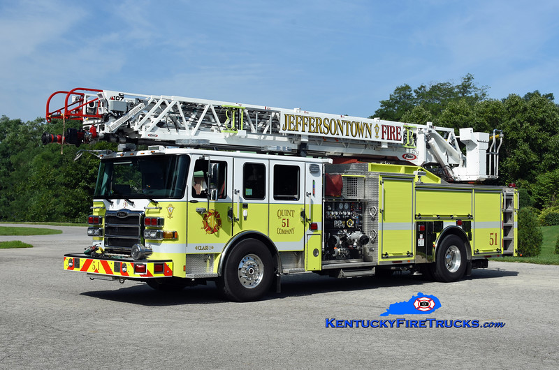 Jeffersontown  Quint 3351<br /> x-McMahan, KY and Quint 3354<br /> 2017 Pierce Enforcer 1500/500/107' Ascendant <br /> Kent Parrish photo