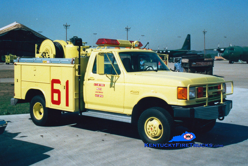 <center> RETIRED <br> Kentucky Air National Guard  Rescue 63 <br> 1990 Ford F-350 4x4/Reading-KME P-20 400PK/500H<br> Greg Stapleton photo </center>