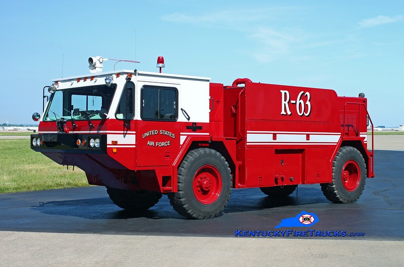 <center> RETIRED <br> Kentucky Air National Guard  Rescue 63 <br> 1987 Oshkosh P-19 4x4/2012 CRES 850/1000/150F/500H <br> Kent Parrish photo </center>