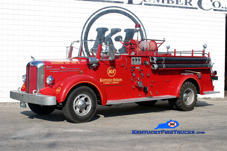 <center> PRIVATELY OWNED <br> Kentucky-Indiana Lumber Company <br> 1951 Mack L Model 750/0 <br> Kent Parrish photo </center>