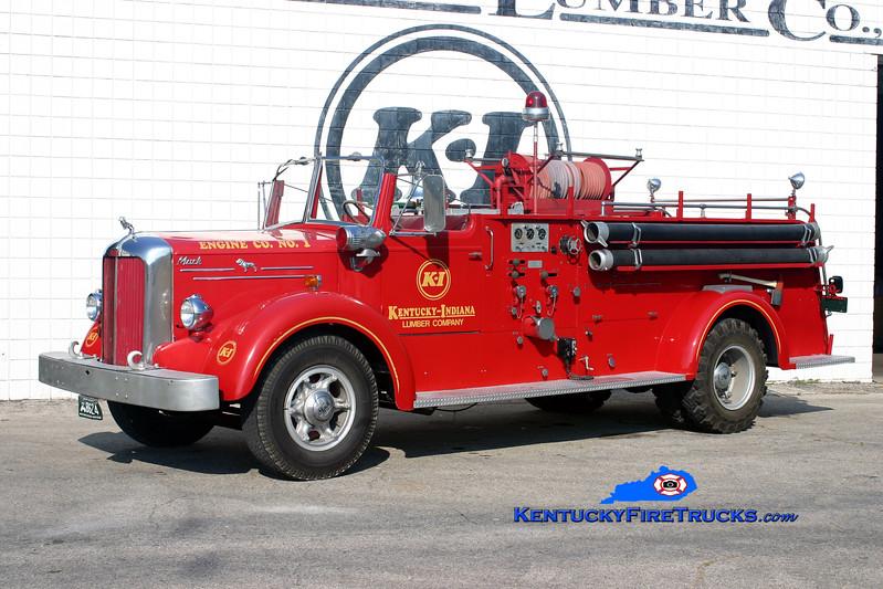 <center> Kentucky-Indiana Lumber Company Engine 1<br> 1951 Mack L Model 750/0 <br> Kent Parrish photo </center>